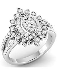 LOLLS Solid 10K Gold 0.56 CT Round Cut Natural Diamond SI HI Marquise Shape Designer Engagement Ring [LOLLS_GUR1146...
