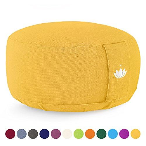 Lotuscrafts Yogakissen Meditationskissen Rund Lotus - Sitzhöhe 15cm - Waschbarer Bezug aus Baumwolle - Yoga Sitzkissen mit Dinkelfüllung - GOTS Zertifiziert - Mit Bestickung -