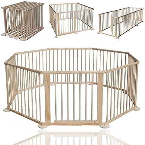 KIDUKU® 7,2 M XXL Bambino Box flessibile Cancelleto di sicurezza incl. Porta e supporto a parete con 8 elementi - Grille Supporto