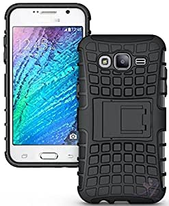 eCosmos || Samsung j7 2016 Defender || Case for Dual Layer Tough Rugged Shockproof Hybrid Warrior Armor Case Back Cover With Kickstand / Black