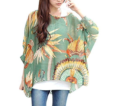 791ea3bf23b11 BOLAWOO Mujer Tops Blusa Verano Elegantes Estampadas Vintage Boho Camisetas  Manga Larga Cuello Redondo Anchas Casual