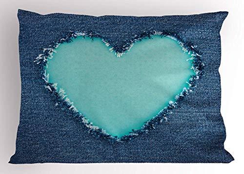 Ejjheadband Navy and Teal Pillow Sham, Ripped Denim Jean Fabric Image Heart Shape Love Romance Valentines Day, Decorative Standard Queen Size Printed Pillowcase, 30 X 20 inches, Navy Blue Seafoam - Denim, Pillow Sham