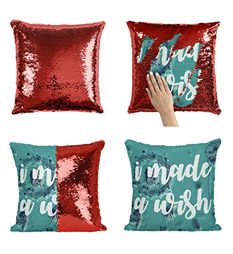 I Made A Wish Dream Live_005956 Sequin Pillow, Funny Pillow, Sequin Reversible Pillow, Kissenbezug Kissen, Décor, Gift for Him Her, Birthday Christmas Halloween, Present (Kissen + Einsatz)