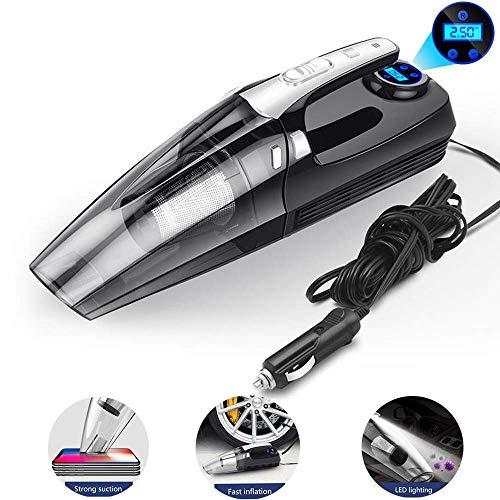 Autostaubsauger,LED Licht, Handstaubsauger 4 in 1 Leistungsfähiger Nass-/Trocken Staubsauger 12V 120W, Luftdruckmesser, Aufblasbarer Staubsauger - Kommerzielle Licht-staubsauger