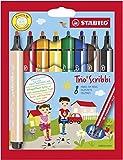 STABILO Trio Scribbi - Étui carton de 8 feutres triangulaires pointe large - Coloris assortis