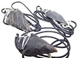 Black Agate Hand Knapped Gemstone Arrow Head Pendant