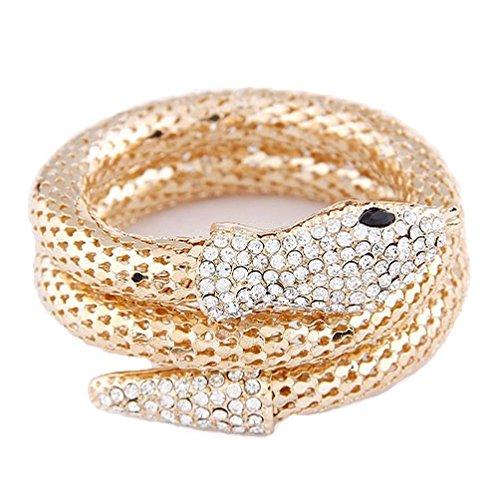 Armreif für Damen Armspange / Armband in Gold mit Schlangen-Anhänger und Strass von DesiDo® (Gold Schlange Armband)