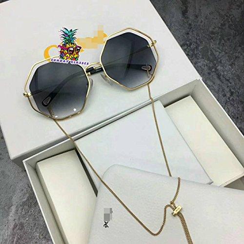 Unisex Sonnenbrillen für CHOLE Sonnenbrillen Oversized Openwor Octagon Vintage Retro Eyewear for KChole Poppy Sunglasses-Gold frame Black lens