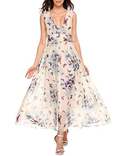 cooshional Damen Kleider Sommer Lang Festlich Elegant Hochzeit Abendkleider Partykleider Cocktailkleider Grün