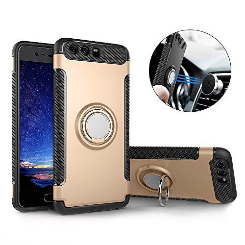 Huawei P10 Hülle ,P10 Handyhülle mit Ring Kickstand - Mosoris Premium Silikon Shell mit 360 Grad Drehbarer Ständer und Handyhalterung Auto Magnet Ring , Dual Layer Stoßfest Rüstung Schutzhülle Bumper Tasche Case Cover für Huawei P10 , Gold
