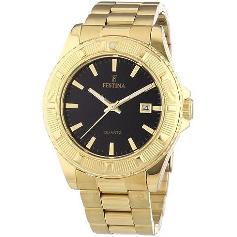 Festina Trend F16682/5 - Reloj analógico de cuarzo unisex, correa de acero inoxidable chapado color dorado (agujas