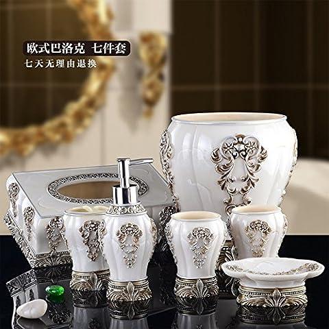 Bain, bain ensemble accessoire d'ensemble,salle de bain de style jeu Seven-Piece conviennent luxe télévision rétro Mug Kits lavage mariage cadeau de pendaison de crémaillère,Thanksgiving Day