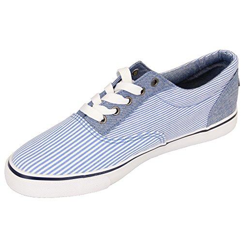 Chaussures Pour Hommes Rock & Religion Baskets À Rayures Pointillé Jeans Chaussure Tennis Toile Bleu - BOATING