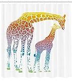Abakuhaus Duschvorhang, Mutter und Kind Giraffen in Regenbogenfarben Abstrakte Illustration Weißer Hintergrund Bunt, Blickdicht aus Stoff inkl. 12 Ringe für Das Badezimmer Waschbar, 175 X 200 cm