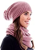 Winter Kombi Set aus Winter Schal und passender Strickmütze/Beanie mit Pompon/versch. Designs, Winter Set:Altrosa