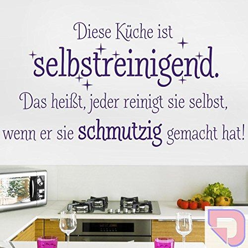 DESIGNSCAPE® Wandtattoo Diese Küche ist selbstreinigend. Das heißt, jeder reinigt sie selbst, wenn er sie schmutzig gemacht hat 60 x 31 cm (Breite x Höhe) pastell-rosa DW801334-S-F98