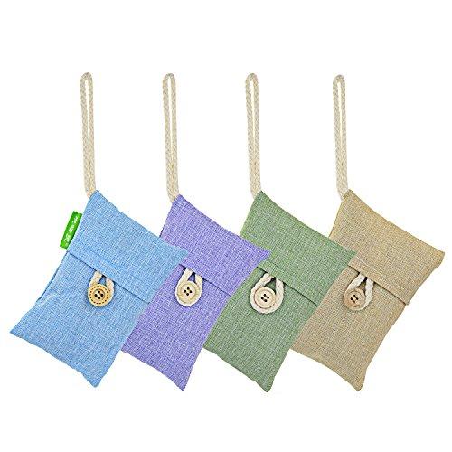 4 stk Bambus Aktivkohle Tasche für Lufterfrischer, Ishua natürlicher ökologischer Luftreiniger für Auto, Zimmer, Küche und Schrank Zufällige Farbe