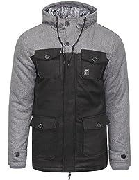 SoulStar Mens Parka Coat Wool Mix Padded Smart Warm Winter Hooded Jacket