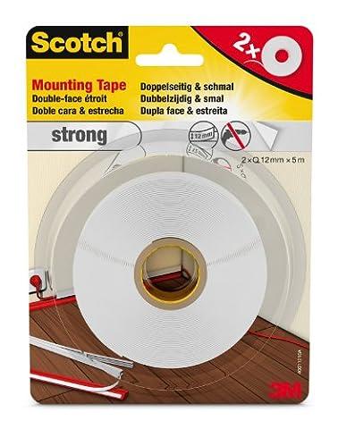 Scotch 40011210 doppelseitiges Montageklebeband stark, für Kabelkanäle und Leisten 2 Rollen, schmale 12 mm x 5 m, weiß