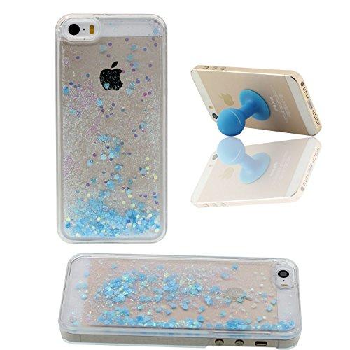 iPhone SE Case, Coque Étui de Protection pour Apple iPhone 5 5S SE Poudre Bling Étoiles Couler Dur Transparente Eau Liquide Couler X 1 Silicone Titulaire bleu