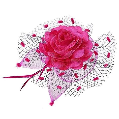 Femmes Fascinateur Voiler Fleur Cocktail thé Fête Couvre-chefs Mariage Headpieces (Rose rouge)