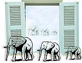 Fenstertattoo selbstklebend ~ Afrika, Elefanten ~ glas040-57x18 cm 610046 Aufkleber für Fenster, Glastür und Duschtür, Badezimmer Glasdekor Fensterbild, wasserfeste Glasdekorfolie in Sandstrahl - Milchglas Optik