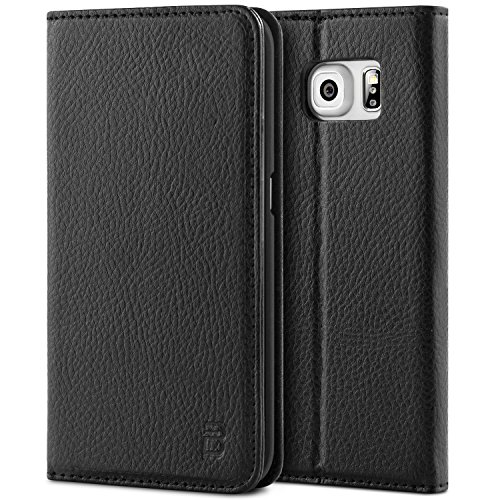 Galaxy S6 Edge Hülle, BEZ Handyhülle Samsung Galaxy S6 Edge, Schutzhülle Tasche aus Kunstleder Flip Cover Taschenhülle mit Kreditkartenhaltern, Standfunktion, Geldbeutel, Magnetverschluss - Schwarz