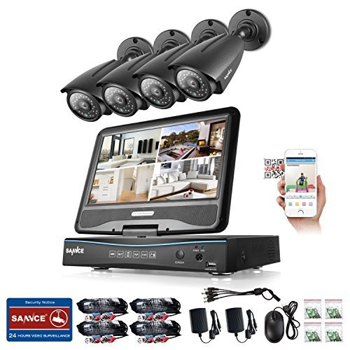 """Sannce 8CH 1080N HD Security DVR Recorder Hybrid HVR NVR DVR All In One with Build in 10.1"""" LCD Monitor and 1TB Hard Drive and (4) 960P Outdoor Fixed CCTV Camera, Smart IR-CUT, 100ft Night Vision"""