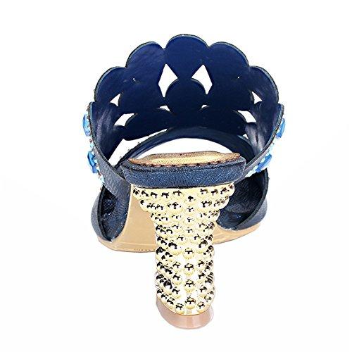 Honeystore Damen's Handgemacht Rhombus Strass Blockabsatz Sandalen Blau