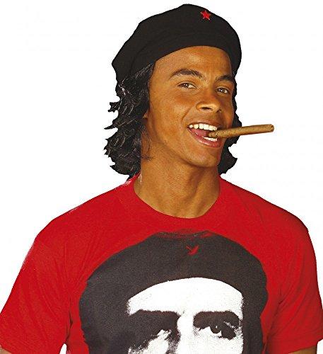 Che Guevara Kostüm - Schwarze Che Guevara Mütze mit Haaren Revolutionär Hut Perücke Kappe Barett