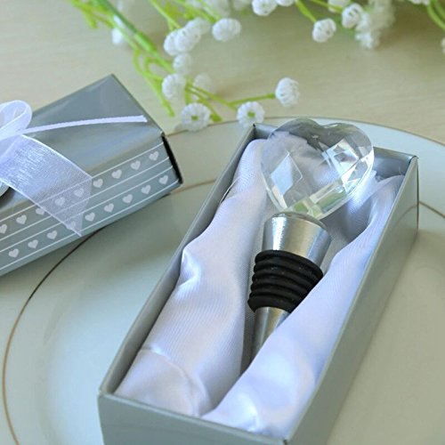 Bomboniera tappo per bottiglie con cuore di cristallo scatola di regalo