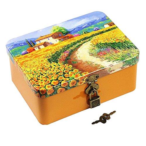 Homyl Metalldose - Keksdose Vorratsdose Gebäckdose, 17.5x13x7.5cm - Sonnenblume