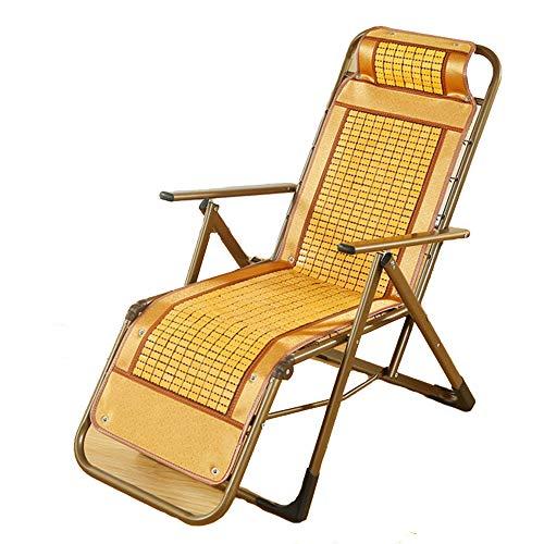 CHUDAN Outdoor tragbaren Liegestuhl Gartenstuhl Bambus Liegestuhl - Verstellbar Schaukelstuhl Strand Relax-Sonnenliege leicht zusammenklappbar belastbar bis 200 kg,B - Schaukelstuhl Hocker Gepolsterte