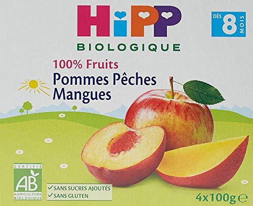HiPP Biologique 100% Fruits Pommes Pêches Mangues Coupelles 100 g Dès 8 Mois - 4x100g