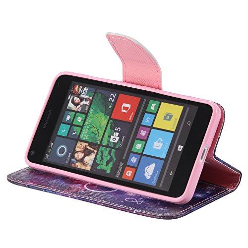 Feeltech Microsoft Lumia N640 Hülle [Berühren Sie Stift] Elegant PU Leder Tasche Magnetverschluss Ultra Schlanke hülle Gemalte Colour Muster Design Mit Back Cover Etui Skin Shell Purse hülle Standfunk Milchstraße