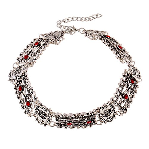 HYHAN Collar gargantilla de diamantes vintage , ancient silver red