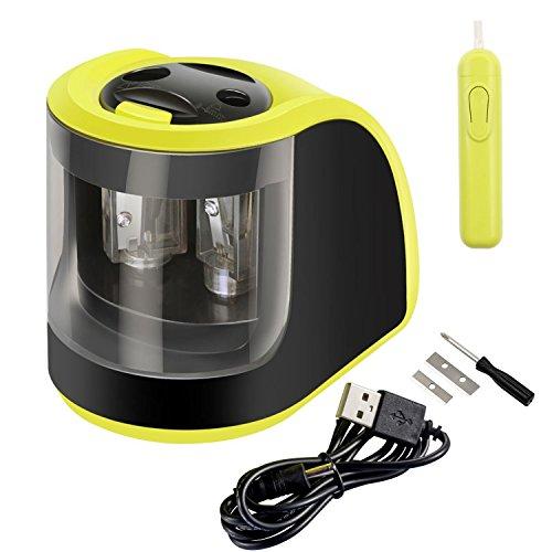 yosun-uk eléctrico Sacapuntas, 2orificios de diámetro adaptadores, alimentado por batería o, para los niños, estudiantes, artistas y oficina–verde