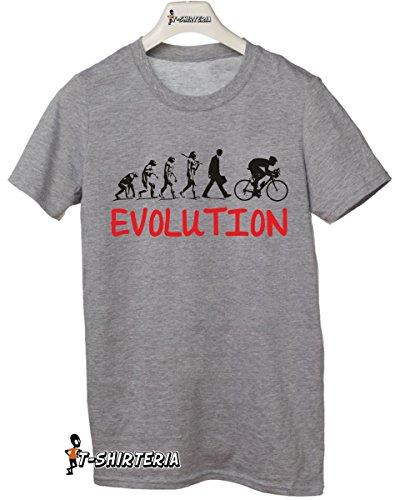 t-shirt Evolution bici, evolution bike tutte le taglie uomo donna maglietta by tshirteria grigio