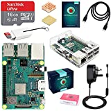 ABOX Raspberry Pi 3 B+ Model B Plus Desktop Starter Kit, Clear Case, 16GB Preinstalled with NOOBS Class 10 SanDisk Micro SD Card, 5V 3A On/Off Switch Power Supply Adapter