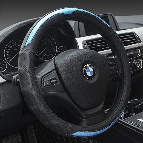 "HCMAX Prämie Fahrzeug Lenkradabdeckung Auto Lenkradschutz Universal Durchmesser 38cm (15"") Echtleder"