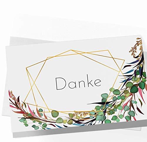 20 Dankeskarten Klappkarten mit Umschlägen - Dankeskarte - Postkarte Danke - Karte Danke - Dankeschön Karten - Danksagungskarten Hochzeit - Karte Abschied Kollege Kollegin - Vielen Dank - Modern