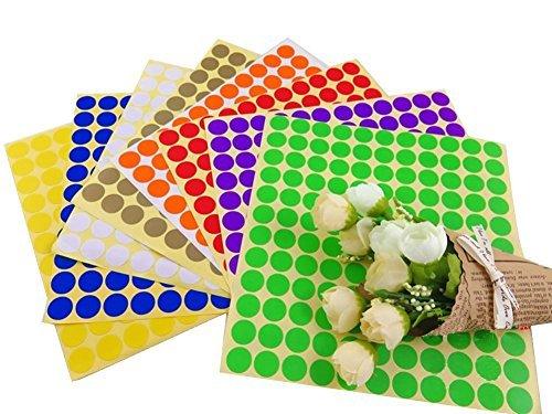10 Feuilles 1320 pcs étiquettes blanches Multicolore rond Cercle de codage d'huile essentielle Rouleau Bouteille échantillons étiquettes Stickers Couleur aléatoire