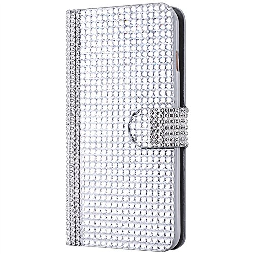 Coque iPhone 7 Plus,Yokata Luxury Bling Glitter Diamant Etui Portefeuille en Cuir Polyuréthane Holster PU Case avec Card Slot Argent