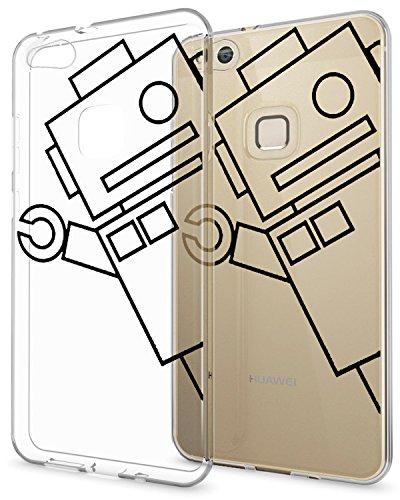 AIsoar Funda Huawei P10 Lite 2017 Case Ultrafino diseño de Dibujos Lindo TPU Parachoques Anti-Arañazos Anti-Huella Dactilar a Prueba de Choque Case Protectora (Robot)