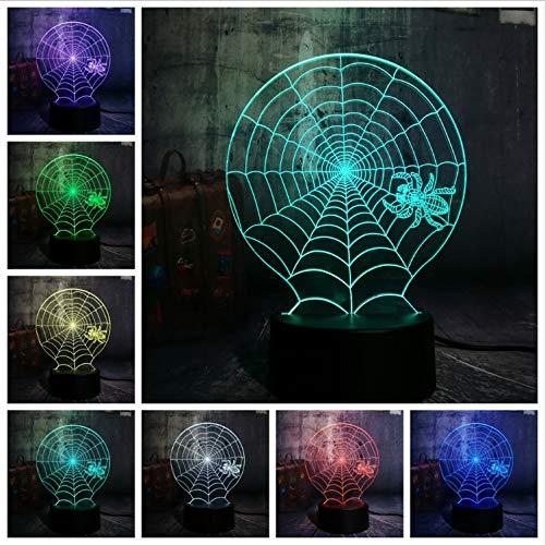 YS753 Neue Lustre Hot 3D Halloween Scary Szene Led Nachtlicht Spinnennetz Spinnennetz Net Schreibtischlampe Horror Wohnkultur Kind Geschenk