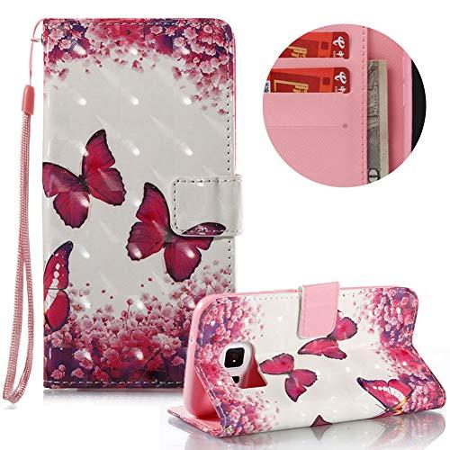 Gurt Lederhülle für Samsung Galaxy S7,Brieftasche für Samsung Galaxy S7,Moiky Stilvoll Luxuriös 3D Rot Schmetterling Muster Ständer Karten Slot PU Leder Etui Hülle