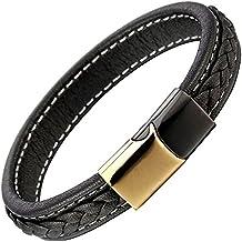 Homme Garçons Noir Bracelet en Cuir Tressé - Véritable Cuir - Acier Inoxydable Noir Or Fermoir Magnétique