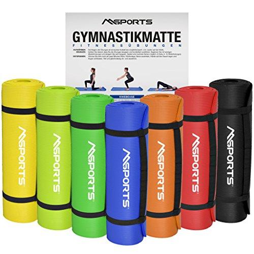 MSPORTS Gymnastikmatte Yoga | inkl. Übungsposter | 190 x 60 x 1,5 cm | Hautfreundlich - Phthalatfrei weich - extra dick | Fitnessmatte (Lindengrün)