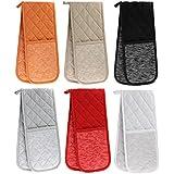 Toscana, horno guantes, guante doble para el horno profesional, Heavy Duty resistente al calor guantes, 100% algodón, tela, Naranja, guante de horno doble