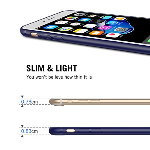 iPhone 7 Hülle, RANVOO Silikon Dünn Anti-Fingerabdruck Ultra Slim Soft TPU Case for iPhone 7 Schwarz, [TENDER005] Blau